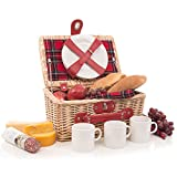 Modern Wicker Picnic Basket Hamper Set by Weirwood | Includes Flatware, Cheese Plates, Ceramic Mugs, Handkerchiefs, and FREE Checkered Blanket