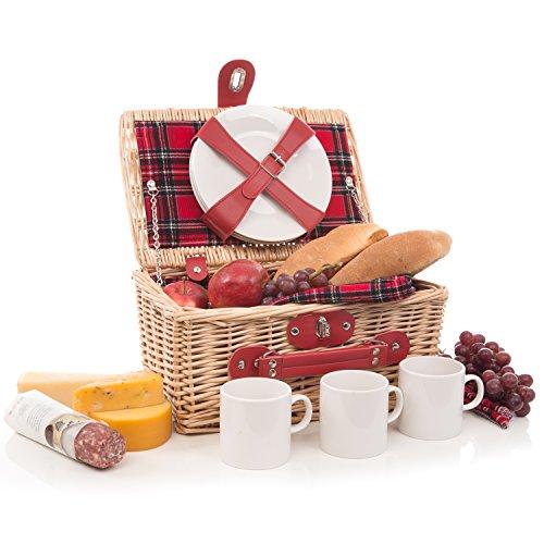 Modern Wicker Picnic Basket Hamper Set by Weirwood | Includes Flatware, Cheese Plates, Ceramic Mugs, Handkerchiefs, and FREE Checkered Blanket (Modern Wicker)