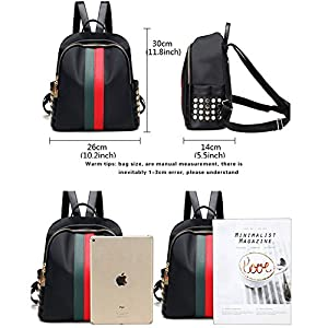 Mynos Fashion Luxury Designer Women Small Backpack Bag Teenager School Backpack (Red and green)