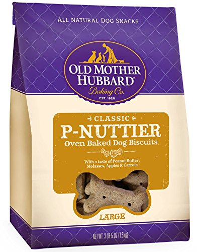 Bone Large Dog Biscuits (Old Mother Hubbard Classic Crunchy Natural Dog Treats, P-Nuttier Large Biscuits, 3lbs 5oz Bag)