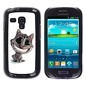 Qstar Arte & diseño plástico duro Fundas Cover Cubre Hard Case Cover para Samsung Galaxy S3 III MINI (NOT REGULAR!) / I8190 / I8190N ( Cat Big Smile Teeth White Feline Art Cartoon)