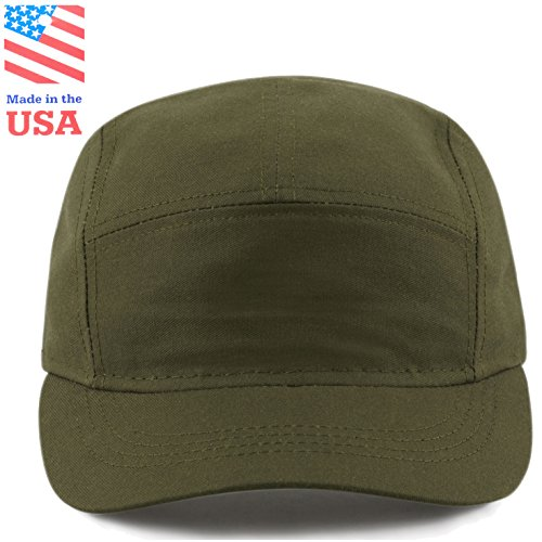 The Hat Depot Exclusive Made in USA 5 Panel Unstructured Outdoor Running Cap (Olive)