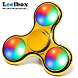Leelbox LED Tri-Spinner Fidget ,Golden flash Spinner Toy 3 type flash for relieving ADHD, Anxiety, Boredom (golden)