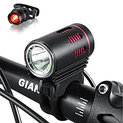 Bright 1200 Lumens Mountain Bike headlight with CREE L2 LED -Bike LED Light rechargeable 8.4V 6400mA Silicon Waterproof Battey with Pouch Bag-Bike Taillight Included as FREE Bonus -NO Tool Required