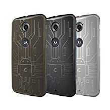 Nexus 6 Case, Cruzerlite Bugdroid Circuit TPU Case Bundle of 3 for Google/Motorola Nexus 6 - Retail Packaging - Smoke/Black/Clear