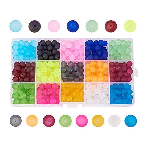 Pandahall 1 Box (About 420pcs) 15 Color 8mm Frosted Transparent Glass Bead Assortment Lot for Jewelry Making (Cube Turquoise Beads Yellow)