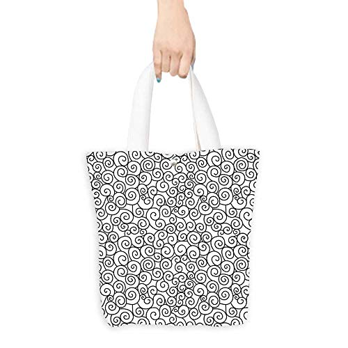 Craft Canvas Shopping Bag Abstract Curved Spiral Branch Lines Monochrome Curved Bands Shabby Chic Simplistic Picture Black White (W15.75 x L17.71 Inch)