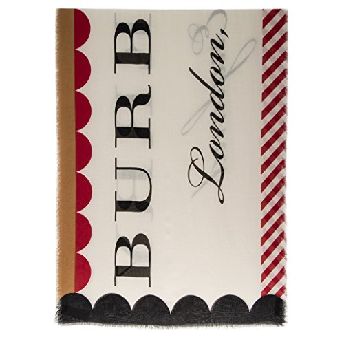 Burberry Unisex Scallop and Stripe Modal Scarf Stone by BURBERRY