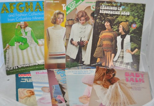 Set of 11 Vintage Knitting Crocheting Craft Books - Leisure Arts / Needlecraft Shop / Bernat / Boye - Afghans * Baby Clothes * Broomstick Lace * Baby Blankets * Tabards * Capes *Layette * Bibs