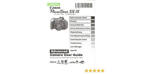 canon powershot s5 is original advanced camera user guide rh amazon com canon powershot s5 is advanced camera user guide Canon XL2