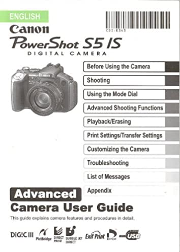 canon powershot s5 is original advanced camera user guide rh amazon com canon powershot s5is instruction manual canon powershot s5is manual focus
