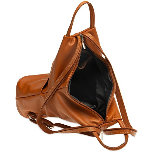 1 Women Caspar in Cognac shoulder Of Backpack Made City Bag Tl782 2 Genuine Leather 1qfFwRf