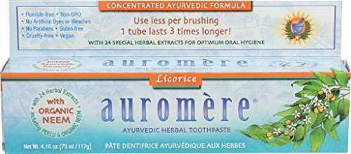 Auromere Mint Free Toothpaste - Ayurvedic Herbal Toothpaste Licorice by Auromere - Fluoride-Free, Natural, with Neem and Vegan - 4.16 oz (4 Pack)