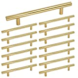 Homdiy Brushed Brass Cabinet Handles 3-3/4 in Hole centers Kitchen Cupboard Door Handles and Pulls 6in Length Gold 15 Pack