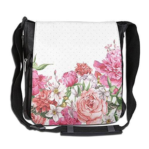 Lovebbag Blooms Bouquet Botany Rose Peony Wild Lily Love Watercolor Crossbody Messenger Bag
