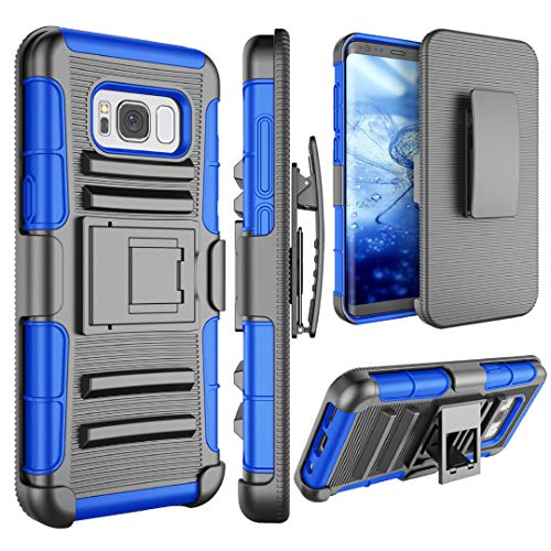 S8 Plus Case, Galaxy S8 Plus Holsters Belt Case, Jeylly [Belt Clip] Heavy Duty [Blue] Full Body Rugged Holster Armor Shock Absorbing Kickstand Carrying Cases Cover for Samsung Galaxy S8 Plus (6.2