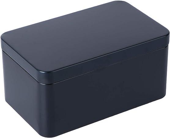 UPKOCH Latas de Bisagra Rectangular con Tapa Caja de Lata Hojalata Caja de Regalo para Joyería Tabaco Caramelo Té (Negro): Amazon.es: Hogar