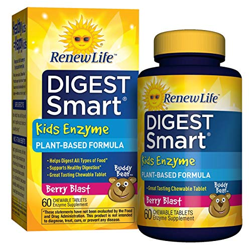 Renew Life Kids Digestive Enzyme - Digest Smart, Enzyme Supplement - Berry Flavor, 60 Chewable Tablets (Packaging May Vary)