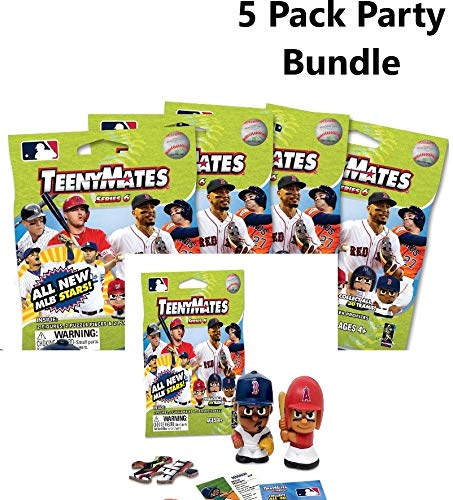 Party Animal TeenyMates 2019 MLB Series 6 Mini Figures Blind Bags Gift Set Party Bundle - 5 Pack (Baseball Puzzle Tin)