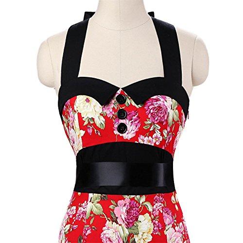 vkstar® Vintage 50s cuello halter corto sirena hips-wrappe Bodycon lápiz para cóctel vestidos Cap manga con cinturón 066 Rosso