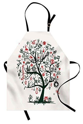 Ambesonne Christmas Apron, Large Tree with New Year Ornaments Presents and Candles Angels Holiday Theme, Unisex Kitchen Bib Apron with Adjustable Neck for Cooking Baking Gardening, Green Vermilion