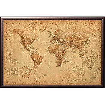 vintage world map push pin travel map premium copper rust finish frame world map. Black Bedroom Furniture Sets. Home Design Ideas