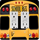 Rikki Knight 8879 Gfidouble Back of A Yellow School bus Design Light Switch Plate