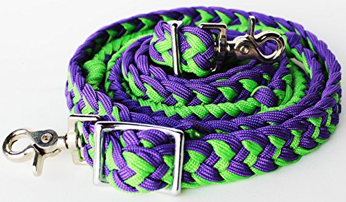 PRORIDER Horse Saddle Knotted Roping Western Barrel Reins Nylon Braided Lime Purple 60789