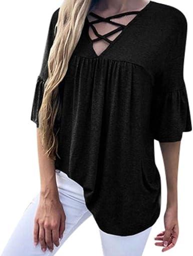 Sttech1 Womens Summer Long Sleeve Shirts Casual V Neck Blouse Tops