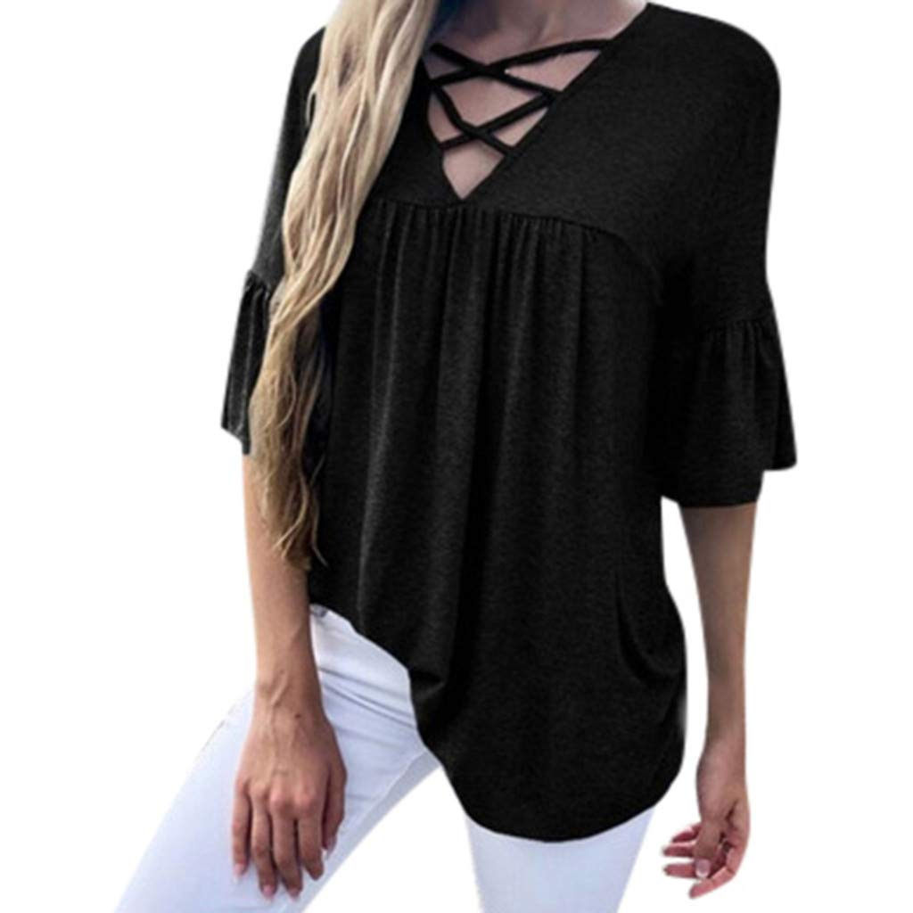 Sttech1 Womens Half Sleeves Cross V-Neck Solid Color Loose T-Shirt Top Blouse