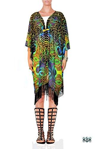 Devarshy Luxury Peacock Animal Print Georgette Shrug Short Designer Kimono (Animal Print Georgette Tunic)