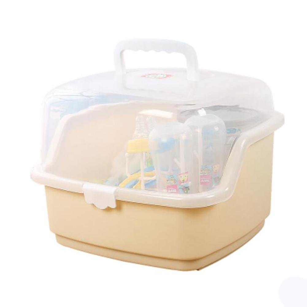 Beige XISHU Bottle Storage Box Dry Rack Resistant Bacteria Portable Tableware Storage Box With Dust Cover