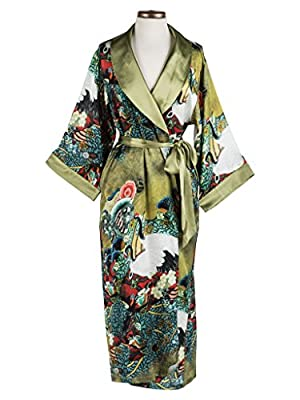 Dynasty Robes 100% Silk, Women's Printed Long Robe with Shawl Collar-Vintage Cranes