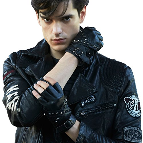 Fioretto Mens Fingerless Half Finger Driving Motorcycle Cycling Unlined Leather Gloves BlacOutdoor Italian Genuine Goatskin Leather Half Finger Gloves Punk Rock Style with Rivets Unlined (XS/S, Black)