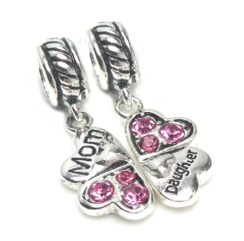Sterling Silver Rhinestone Mother Daughter Love Heart Pink Family European Bead Charm by Queenberry (Image #1)