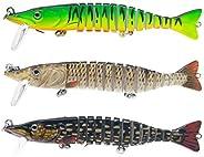HIDOU Bass Fishing Lures,3pcs Swim Fish Bait for Trout Multi Jointed Swimbaits Slow Sinking Bionic Freshwater