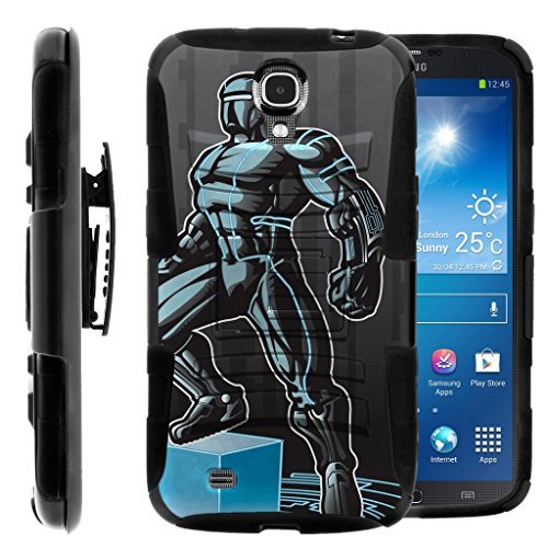 TurtleArmor | Compatible for Samsung Galaxy Mega Case | Mega 6.3 Case [Hyper Shock] Armor Rugged Hybrid Cover Stand Impact Rubber Belt Clip Robot Android Design - Android Man by TurtleArmor
