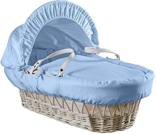 Clair de Lune Cotton Dream White Wicker Moses Basket with Rocking Stand, Blue