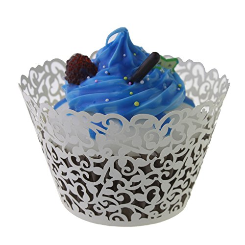 UNIQLED Filigree Artistic Bake Cake Paper Cups Little Vine Lace Laser Cut Liner Cupcake Wrappers Baking Cup Muffin Holder Case for Wedding Birthday Party Decoration (100, White)