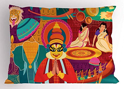 Kerala Pillow Sham, Religious Performance Scenery Artwork Colorful Doodle Native People in Costumes, Decorative Standard Queen Size Printed Pillowcase, 30 X 20 Inches, Multicolor -