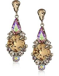 Jewel Tone Women's Alyssum Crystal Drop Earrings,Multi,1.5