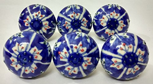 6 Colorfull Ceramic Knobs Handmade Handpainted Ceramic Door Knobs Kitchen Cabinet Drawer Pulls Kid's Badroom Knobs by Zoya's Lots of 6 Knobs (A6)