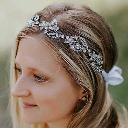 SWEETV Silver Wedding Headband Crystal Bridal Hair Vine Handmade Headpeices Hair Accessories for ()