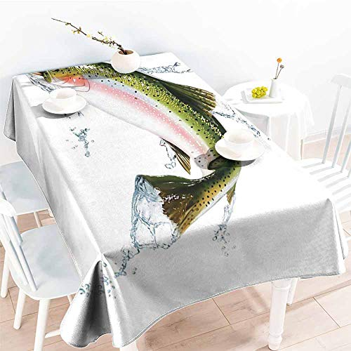 Onefzc Rectangular Tablecloth,Fish Salmon Jumping Out of Water Making Splashes Cartoon Design Photorealistic Airbrush,Modern Minimalist,W50x80L Multicolor