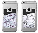 PhoneBuddy WCH9133 Marble Cell Phone Stick On Wallet Card Holder Phone Pocket for IPhone, Android and All Smartphones - White - 2 Piece
