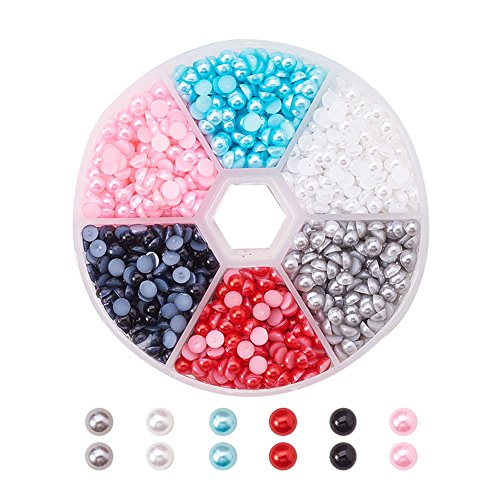 PandaHall Elite 1 Box ABS Acrylic Half Round Flat Back Imitation Pearl Cabochon Diameter 4mm Mixed Color for Craft DIY Gift Making (Round Imitation Pearls)