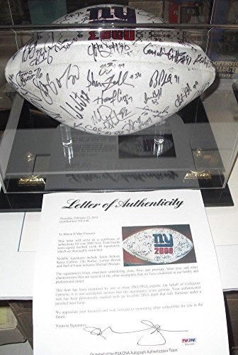 2000 Nfc Champs New York Giants Team Signed Logo Football Strahan Barber - PSA/DNA Authentic Autograph
