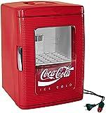 Ezetil Coca-Cola Mini Kühlschrank 25 mit transparenter Tür, 12/230V - 23L mit Kühl- und Warmhaltefunktion, Energieeffizienzklasse A++, rot