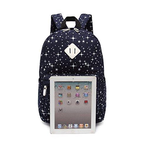 Inwagui Rucksack Schultasche Beiläufige Segeltuch Schule Spielraum Rucksack + Schultertasche + Geldbeutel für Teen Girls-Blau