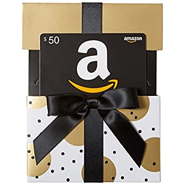 Amazon.com $50 Gift Card in a Gold Reveal (Classic Black Card Design)